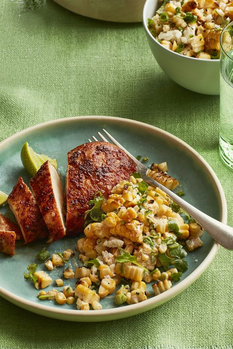 дима chicken with charred corn salad
