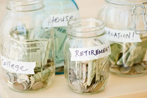 กระจก jars of change and bills