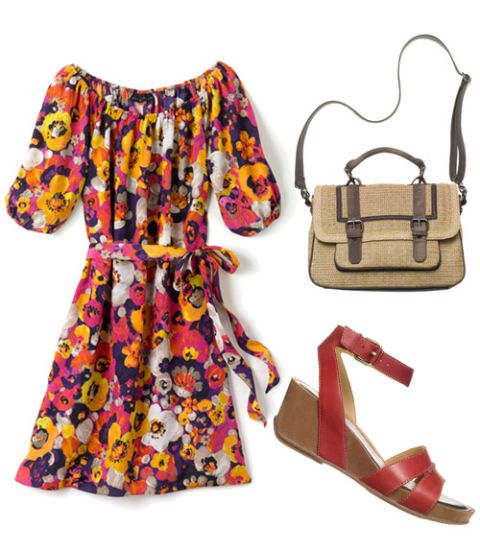 ดอกไม้ dress with satchel and heels