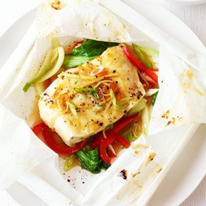 Oranžna and Ginger Halibut in Parchment