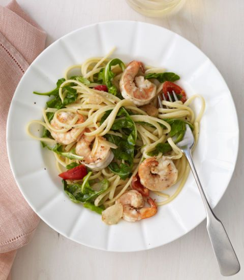 krevety, Cherry Pepper & Arugula Linguine