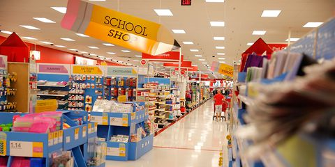 กลับ to school aisle at Target